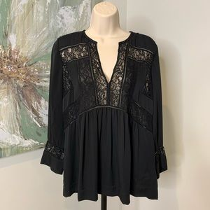 Rebecca Taylor Silk Lace Top Black Size 6 40